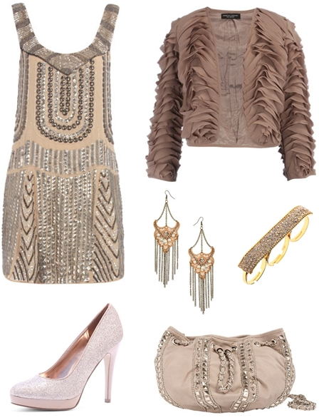Gold heavy embellished dress, Taupe ruffle layer crop jacket, Amazing crochet chain chandelier earrings, Crystal style knuckleduster, Blush glitter court shoes, Mink stud duffle bag, nude farver 2010, festkjole 2010, julefrokostkjole