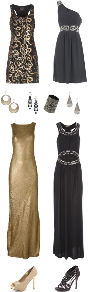 Flame black gold sequin dress 28£, Embellished one shoulder dress 35£, Thread seedbead hoop earrings 6£, Faceted chanderlier earrings 6£, Seedbead popper bracelet 10,50£, Metal wrapped teardrop earring 5,25£, Gold sequin maxi dress 135£, Black embellished waist maxi dress 31,50£, Gold glitter peeptoe shoes 26,60£, Black satin jewelled shoes 32£, nytårskjoler 2010 2011, new years eve dresses 2010