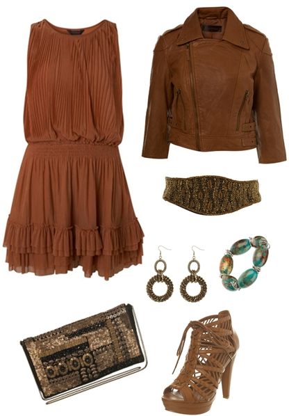 Rust Pleat Drop Waist Dress, Tan Cropped Leather Jacket, Green Leaf Embellished Belt, Snake Chain Earrings, Sweetie Crackle Bead Stretch,  Black Velvet Flapover Bag, Tan Cage Lace Up High Sandal