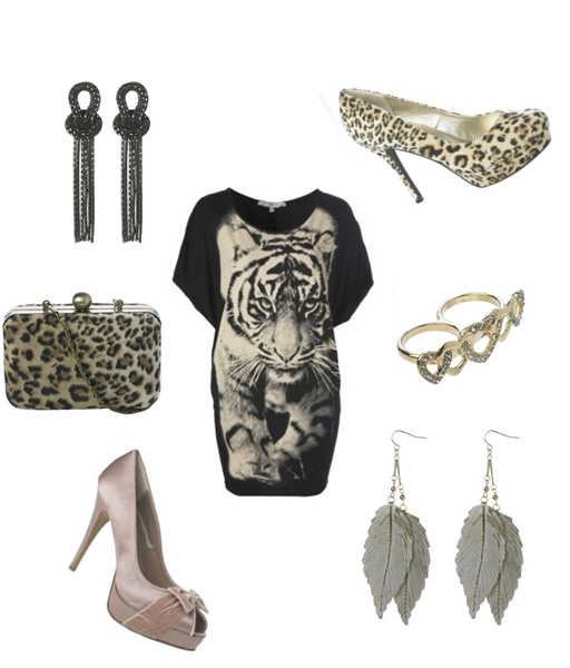 Tiger Oversized Top, Mesh Knot Earrings, Velvet Leopard Court, Leopard Box Clutch, Double Sparkle Heart Ring, Satin Bow Platform, Dropped Leaf Earrings