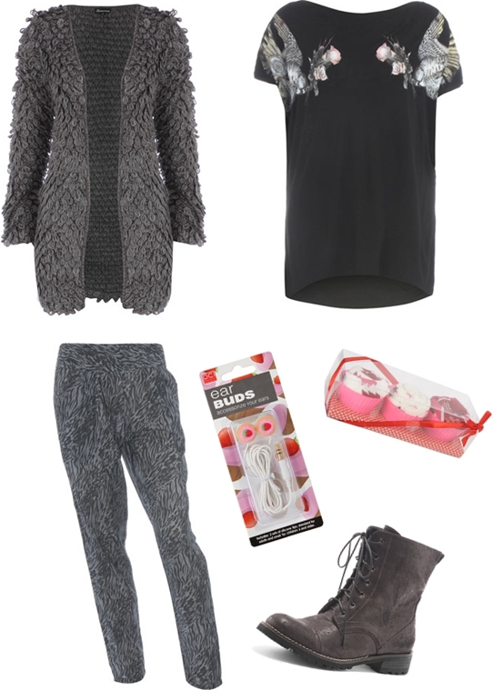 Grey looped cardigan, Black bird shoulder top, Animal harem pyjama bottoms, Pink cupcake earphones, Black casual worker boots,Pink Christmass tree cupcake socks,