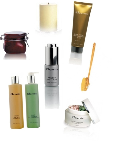 Elemis Absolute Eye Serum, Elemis Cellular Recovery Skin Bliss Capsules 60 Capsules , Elemis Total Glow Self Tanning Cream, Elemis Exotic Lime and Ginger Salt Glow 410g , Elemis Skin Brush in Bag , Elemis The Big Glow Twilight Candle Refill , Elemis Bath & Shower Treats Duo
