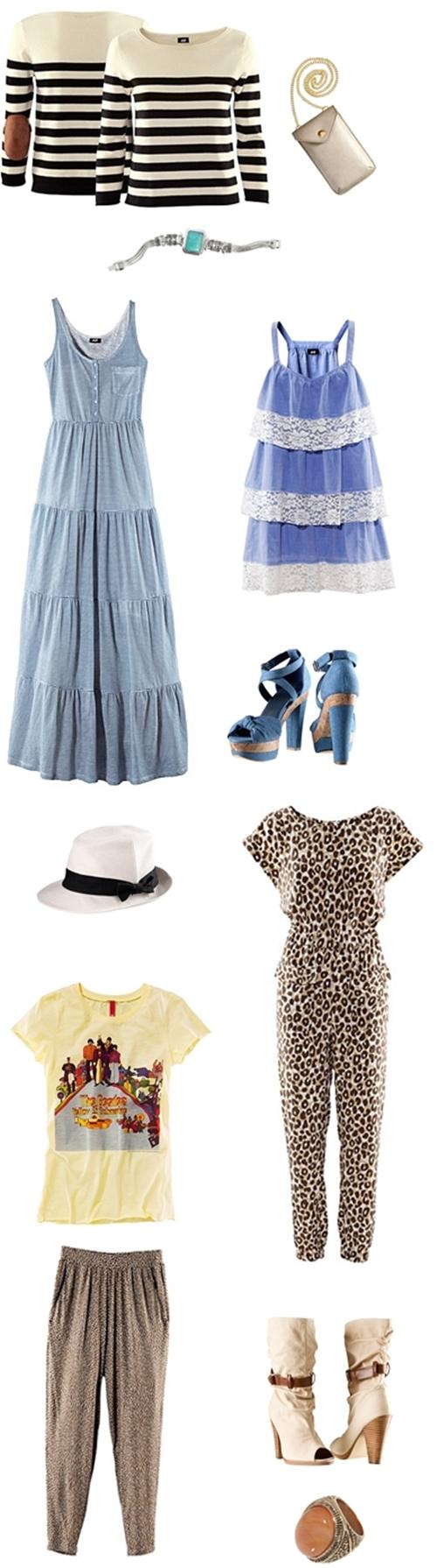H&M spring, H&M forår, lyseblå maxikjole, leopard dragt, hvid hat, white hat, hm forår 2011