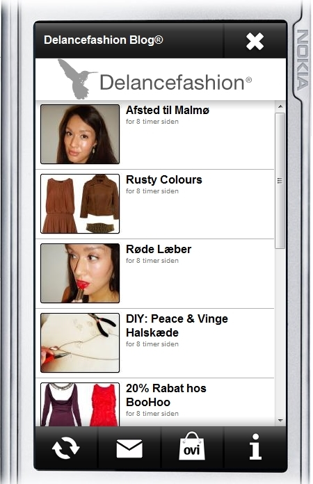nokia ovi, modeblog app, fashion blog app, delance fashion nokia