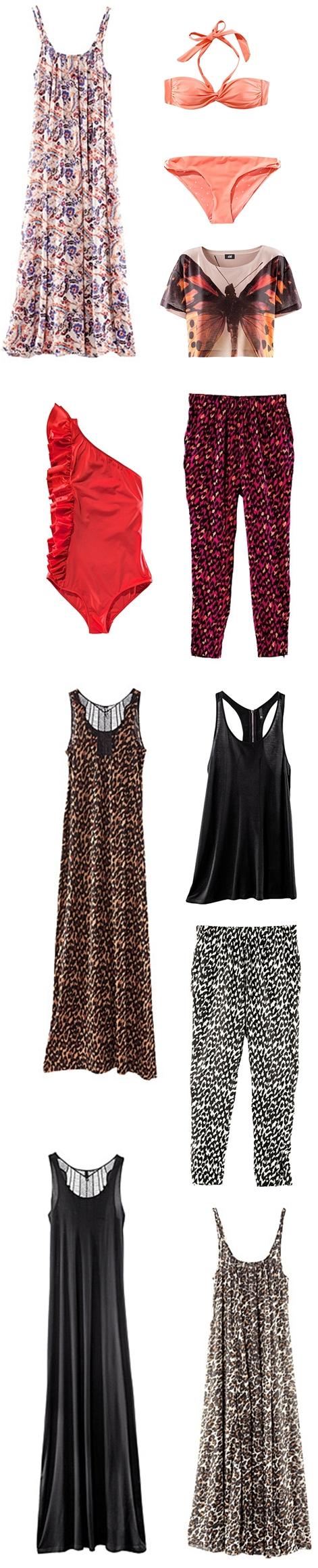 nyt H&M 2011, rød badedragt H&M, red swimsuit H&M, koral bikini, coral bikini, leopard bukser H&M, leopard pants hm, leopard maxikjole H&M, leopard maxi dress H&M