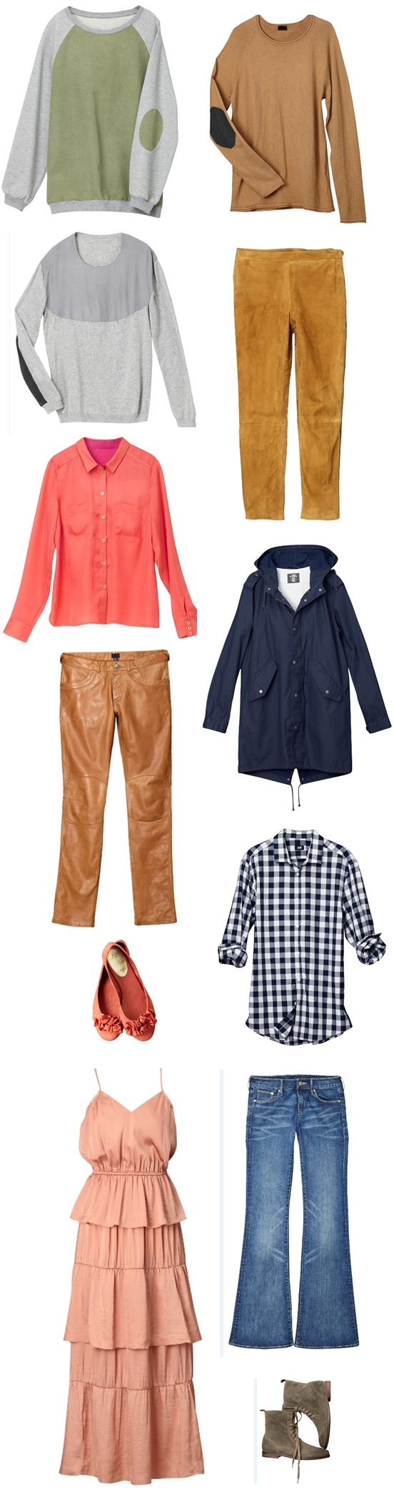 H&M forår 2011, H&M spring 2011, lyserød maxikjole, bluse med patches på albuerne, blå parka, tan læderbukser, tan leather pants, bluse med albuelapper