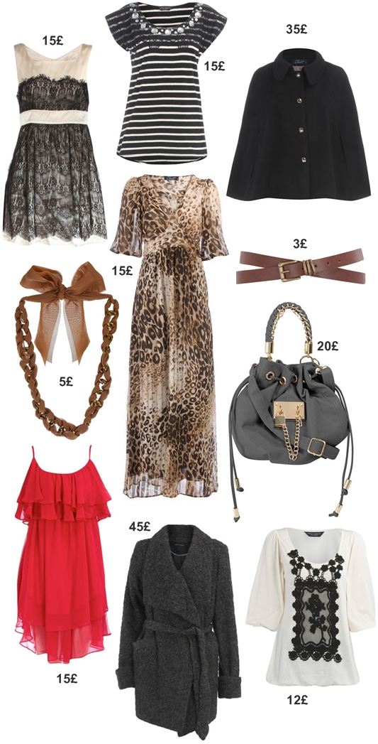 lace dress, black gem neckline tee, Black button front cape, Beige chiffon collar necklace, leopard print maxi dress, Tan double wraop waist belt,red ruffle tiered dress,Charcoal waterfall front coat,Grey padlock duffle bag,Cream bubble hem crohcet top,