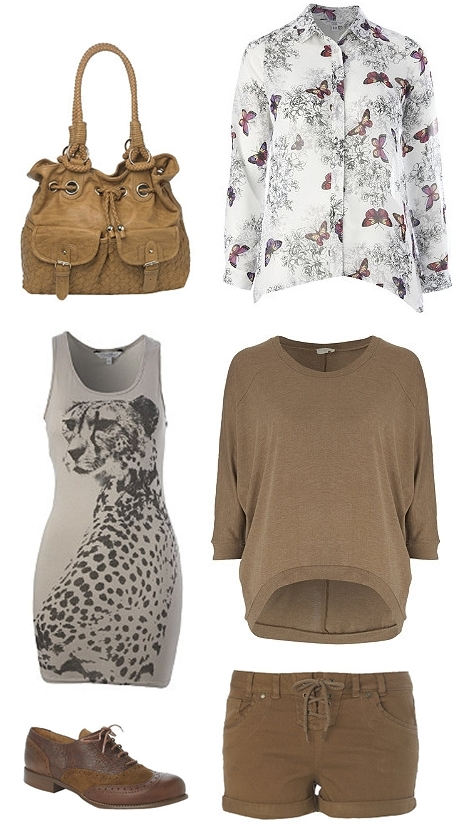 Drop Back Top, Leather Brogue,Coloured Lace Up Short, Dip Back Butterfly Shirt, Woven Duffle Shoulder Bag, Cheetah Print Vest,