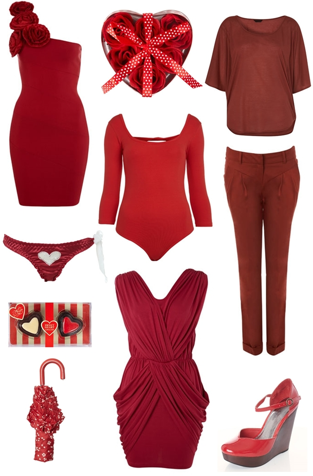 Sleeve Bow Bodysuit, Satin Heart Cut Out Thong, Red Patent Closed Toe Wedge, Scattered Hearts Umbrella, Raspberry Draped Bodycon Dress, Rust Plain Cape Tee, Rust Longer Chino, Red Valentines Rose Dress, Sweet heart lipgloss, Red heart bath roses