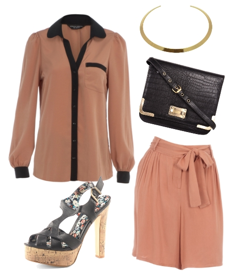 shorts, discount dorothy perkins, guld halskæde, high heels, black bag, skjorte rosa