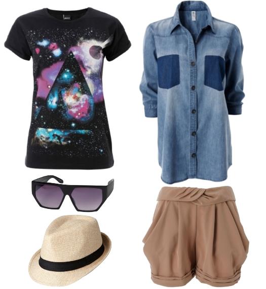 galaxy t-shirt, denim skjorte, beige shorts, solbriller, sommerhat, gina tricot