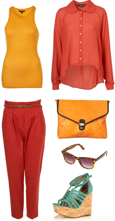 gul clutch, yellow clutch, røde chinos, red chinos, colour blocking, top shop, rød skjorte, red shirt, yellow tank top, gul top