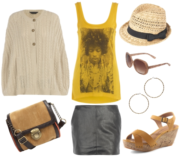 Jimi Hendrix vest, stitchy cape, Tan camera case bag, Black leather look skirt, Gold large twist hoops, Natural trilby with black band, Mustard crossover wedge sandal