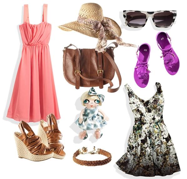 hm, koral kjole, coral dress, wedges summer 2011, lilla sandaler, strandhat, solbriller H&M