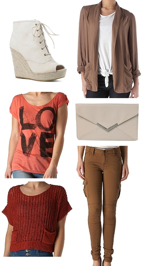 Love Burnout Tee, Skinny Combat Trousers,Envelope Clutch, Lace Up Espadrille Bootie,Boxy Tape Yarn Jumper