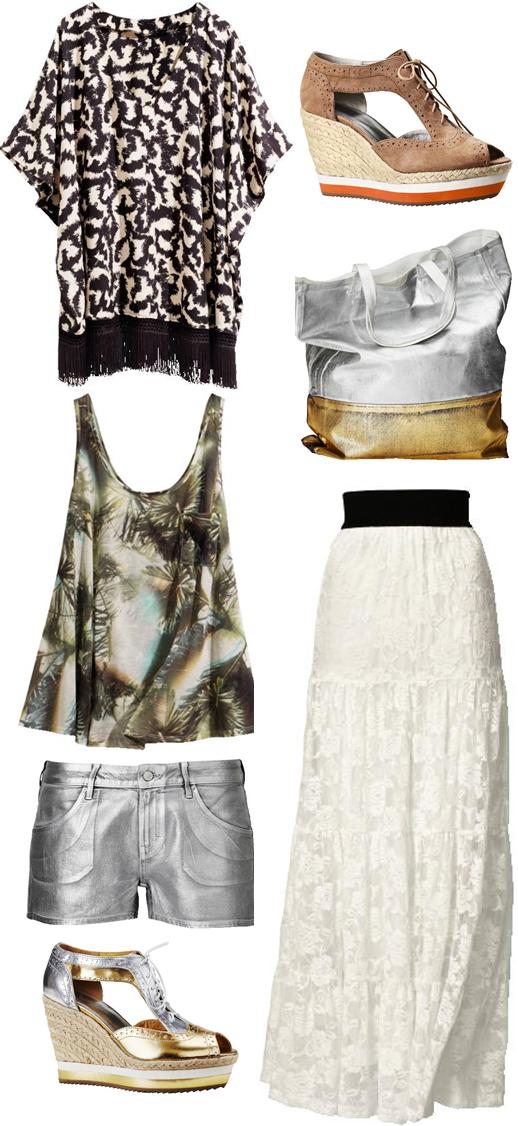 H&M maj nyheder, H&M new, hvid maxi nederdel, white maxi skirt, silver shorts, sølv shorts, kilehæls sandaler, wedges summer 2011