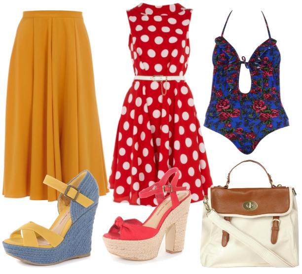 rabat dorothy perkins, discount dorothy perkins, gul nederdel, prikket rød kjole, sommer sandaler, yellow skirt, swimsuit, badedragt