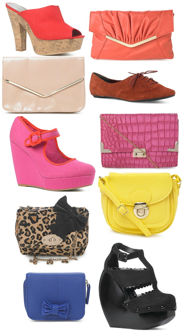 pink clutch, leopard taske, pink wedges, gul taske, yellow bag, nude clutch, sorte wedges
