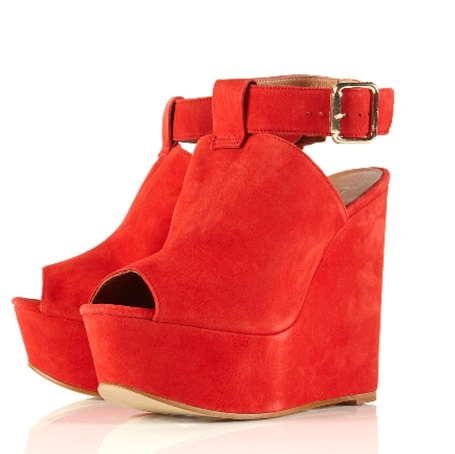 WALBERG Red Suede Ankle Strap Platform Wedges