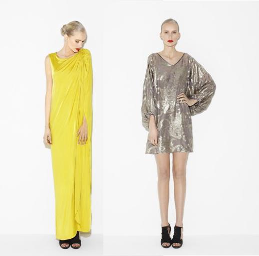filippa k, the dress collection, gul maxi kjole, sølv kjole, yellow maxi dress