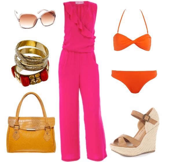 pink jumpsuit, pink buksedragt, gul taske, yellow bag, wedges, kilehæls sandaler, orange bikini, bangles, armbånd, solbriller, sunglasses
