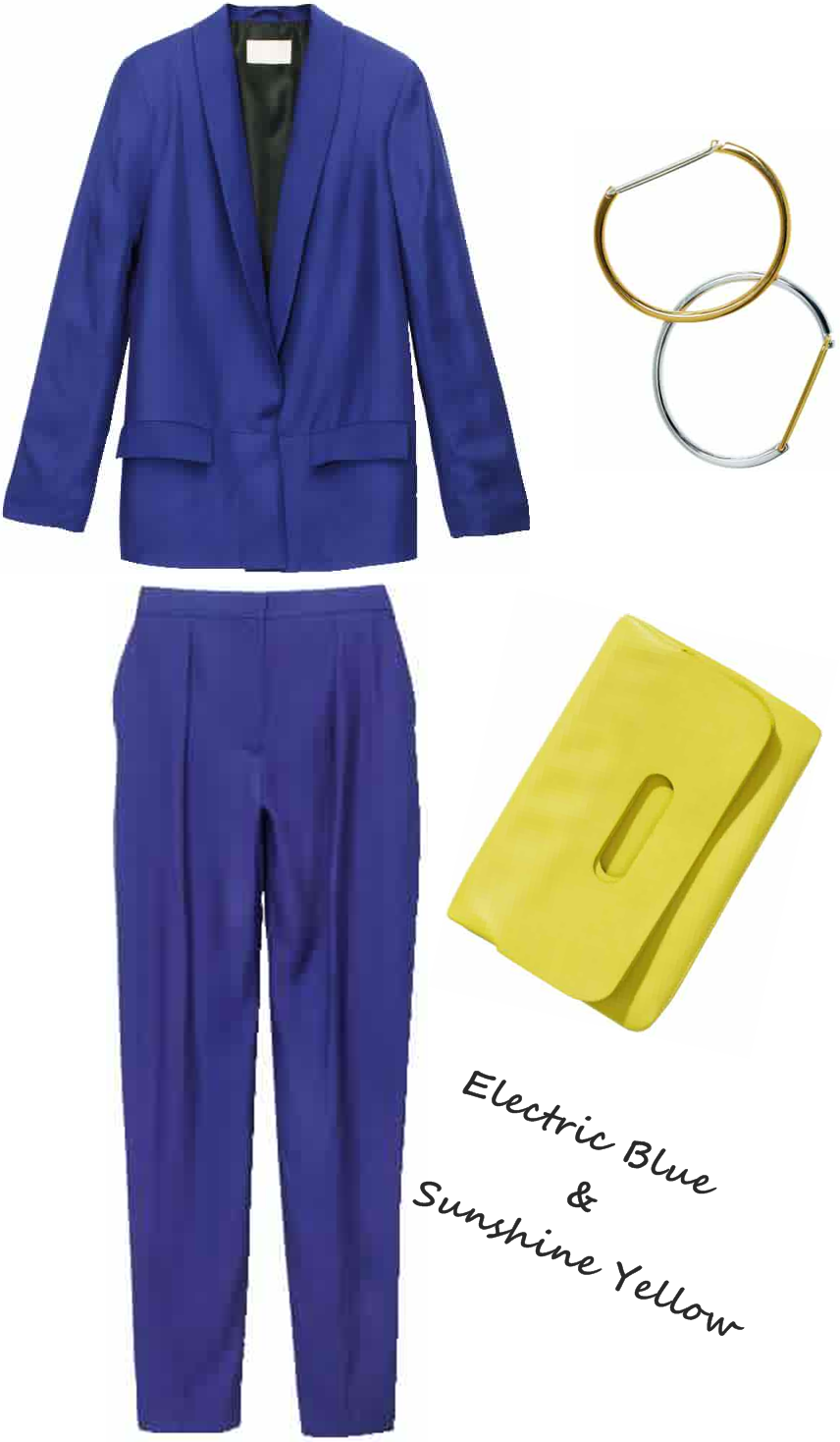 electric blue blazer, H&M pants, yellow clutch, gul clutch H&M