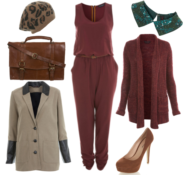 leopard hue, Beaded Collar, perle krave, Tan Leather Buckle Satchel, lædertaske, Burgundy Jumpsuit, vinrød cardigan, bordeaux buksedragt
