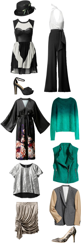 H&M oktober november 2011, H&M efterår vinter tøj, H&M fall winter collection, kimino kjole, buksedragt, sølv bluse, metalisk nederdel