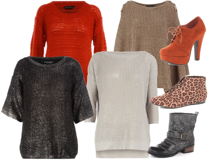 sølv sweater, metalisk sweater, rød sweater, camel poncho, leopard sko, orange støvler, sorte flade støvler, sweater 2011, silver knit, metalic knit