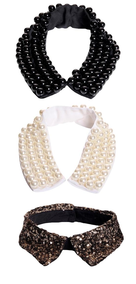 Pearl Beaded Collar, Sequin Collar, palliet krave, perle krave, aftagelig krave