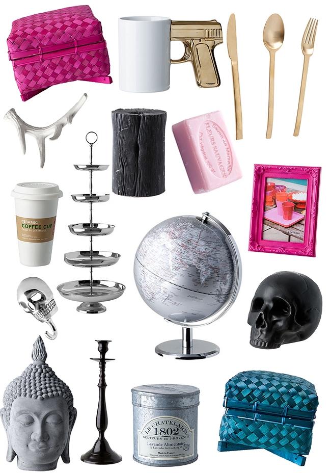 Ilva, brugskunst buddahhoved, skelethoved, dødningehoved pynt, skull, kagefad, cupcake holder, lys, guld bestik, guld ske, pistol kop, gun cup, jordklode