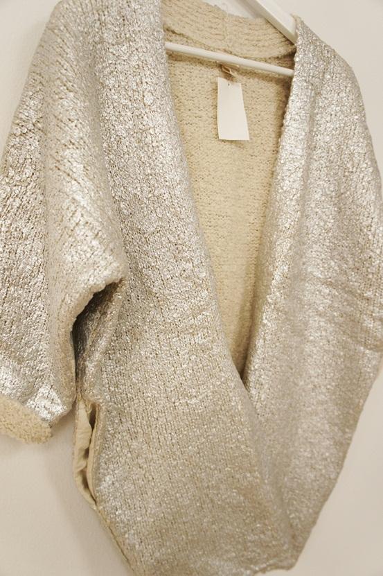 H&M sølv cardigan, H&M silver cardigan, sølvcardigan