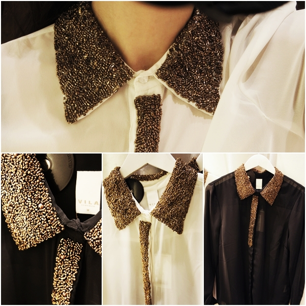 vila skjorte perle krave, pearl collar shirt, vila gennemsigtig skjorte, see through shirt, sequin collar