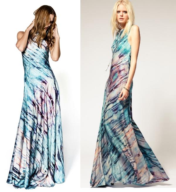 gestuz, Gestuz Blue Marble Print Maxi Dress, gestuz tiedye dress, gestuz batik kjole, gestuz maxikjole