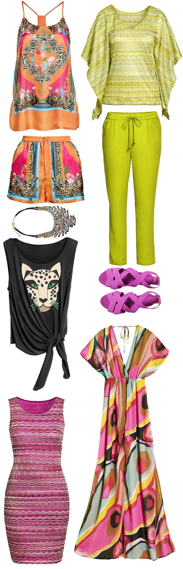 hm april, nyheder H&M, new in H&M H&M forår 2012, H&M spring 2012, neon gul bukser, mønstret maxikjole, neon yellow pants