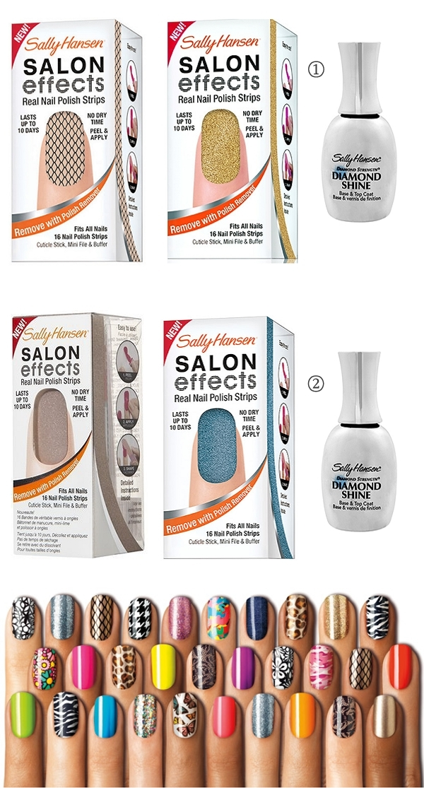 Sally Hansen Salon Effects Nail Strips, Misbehaved, Glitz Blitz, Raise A Glass, Blue Ice