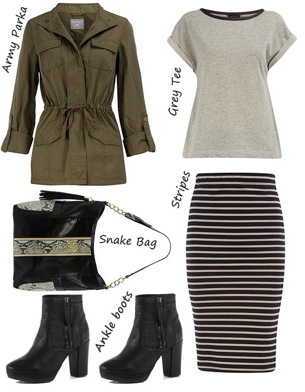 armygrøn parka, stribet nederdel, sorte ankelstøvler, grå t-shirt, army green parka
