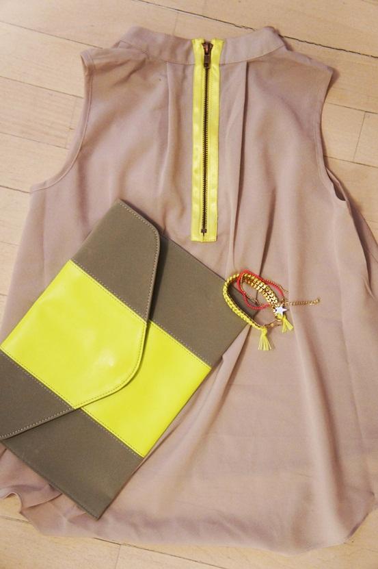 neongul clutch, neonguk armbånd, neongul top, bik bok, neon yellow clutch, neon yellow bracelet, neon yellow top