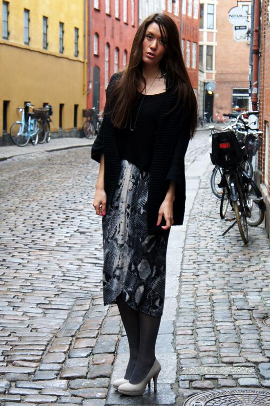 draperet slangeprint nederdel, draped snake print skirt, nederdel Vila