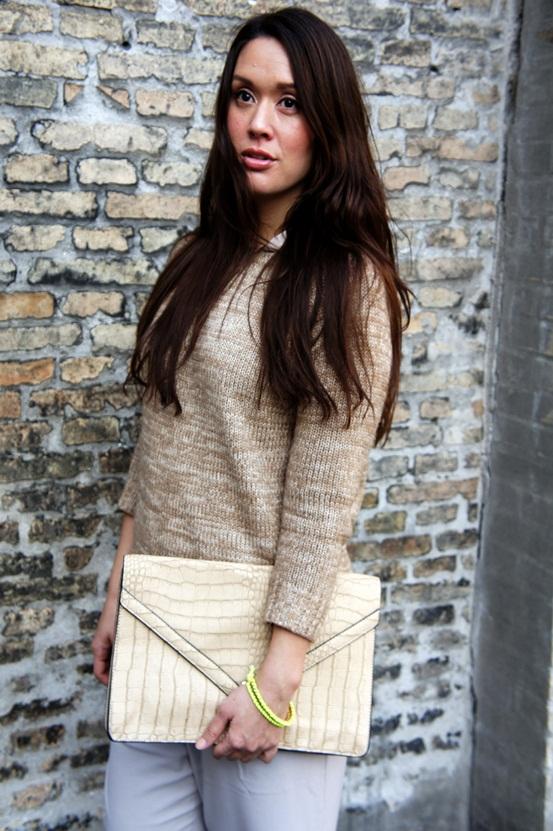 sweater Zara, oversize clutch delancefashion