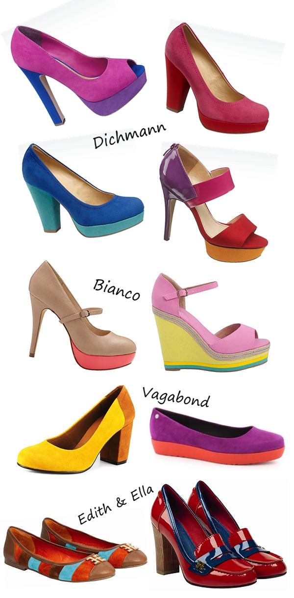 color blocking shoes, vagabond edie, Bianco heels, Deichmann pumps, edith & ella sko, color blocking sko, sommer sko 2012