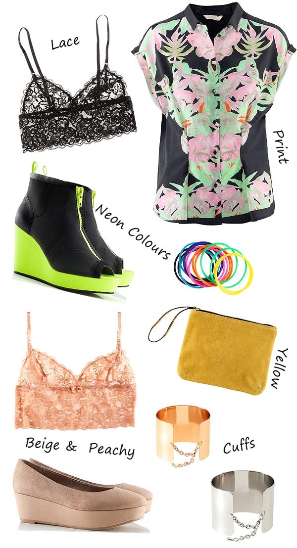 nyt hos H&M, H&M webshop, blonde bh, lace bra, neon colored shoes, neon gule sko, gul clutch, mønstret skjorte, cuffs, guld og sølv armbånd