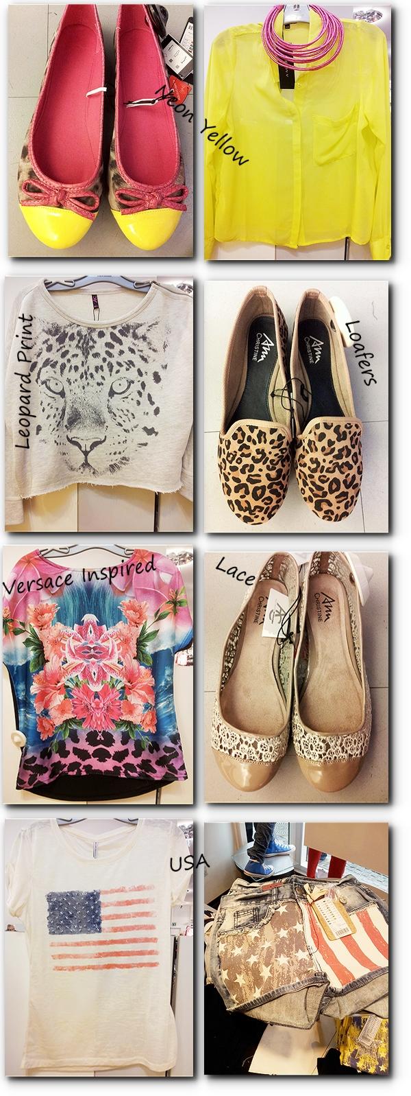 newyorker, Versace Inspired print, lace flats, blonde ballarinaer, neon gul skjorte, neon yellow shirt, leopard print sweatshirt, leopard loafers, neon gul leopard ballarinaer, usa t-shirt, usa shorts, new yorker