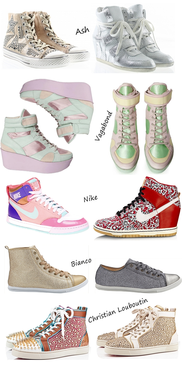 sneakers ss 12, Christian Louboutin studded crystal sneakers, glimmer sneakers Bianco, pastel sneakers vagabond, liberty print sneakers Nike, ash studded sneakers, high heel sneakers ash