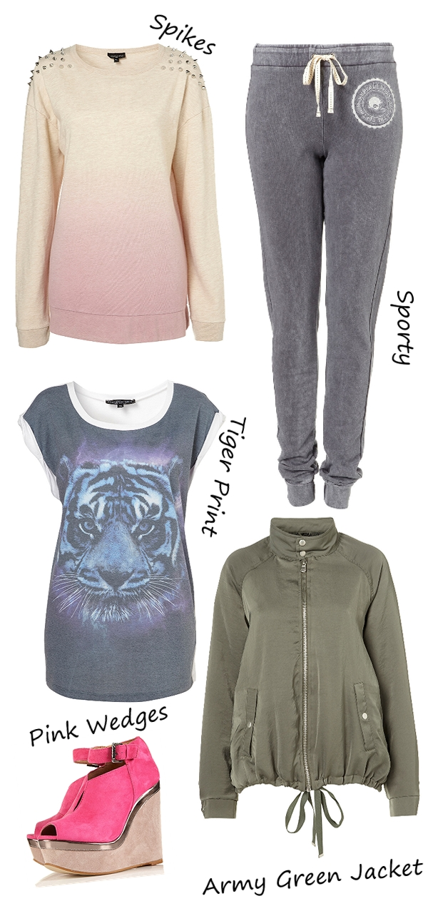 Stud Dip Dye Oversized Sweat, nitte bluse, topshop 2012, tiger print t-shirt, armygrøn jakke, pink kilehæle, pink wedges, sportsbukser, sweat pants