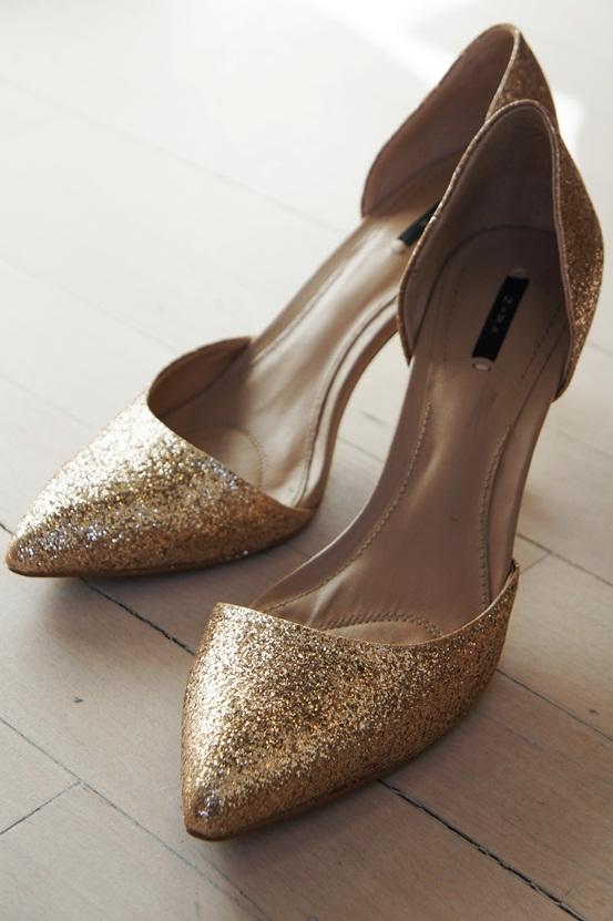 glimmer sko Zara, glitter heels Zara