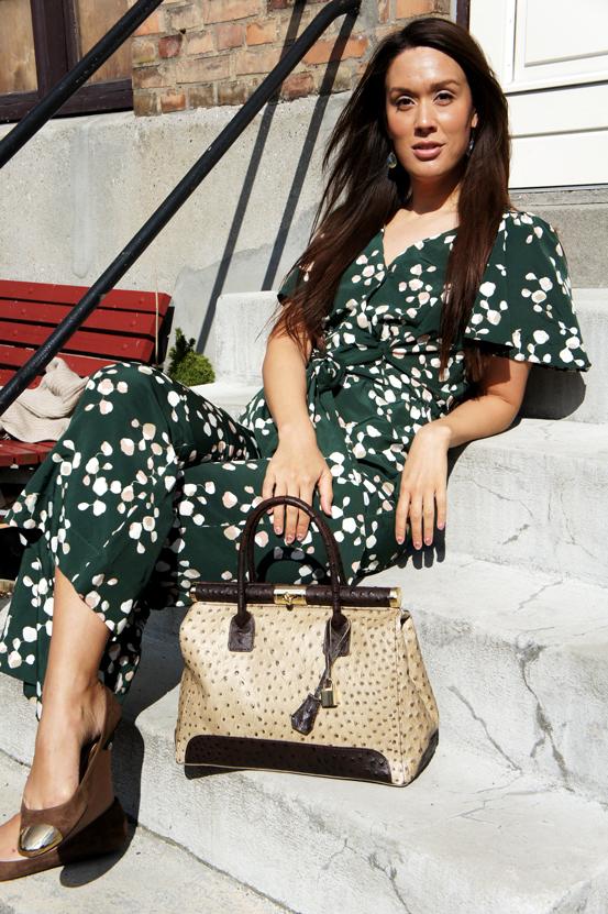 blomstret grøn buksedragt H&M, flower print jumpsuit H&M