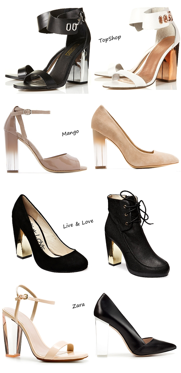 Metallic Heel Sandals, Live & Love - alia, guld hæl sko, gold heel boots, Degraded heel sandals, Suede pump, gennemsigtig hæl, to farvet hæl, plastik hæl, SANDAL WITH METHACRYLATE HEEL, COURT SHOE WITH METHACRYLATE HEEL