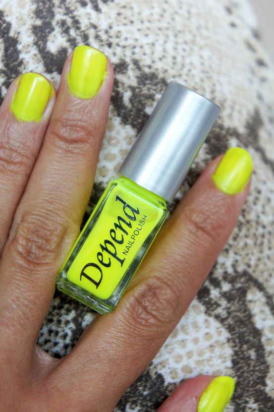 depend neglelak, neongul neglelak, neon yellow nail polish, depend nr. 035
