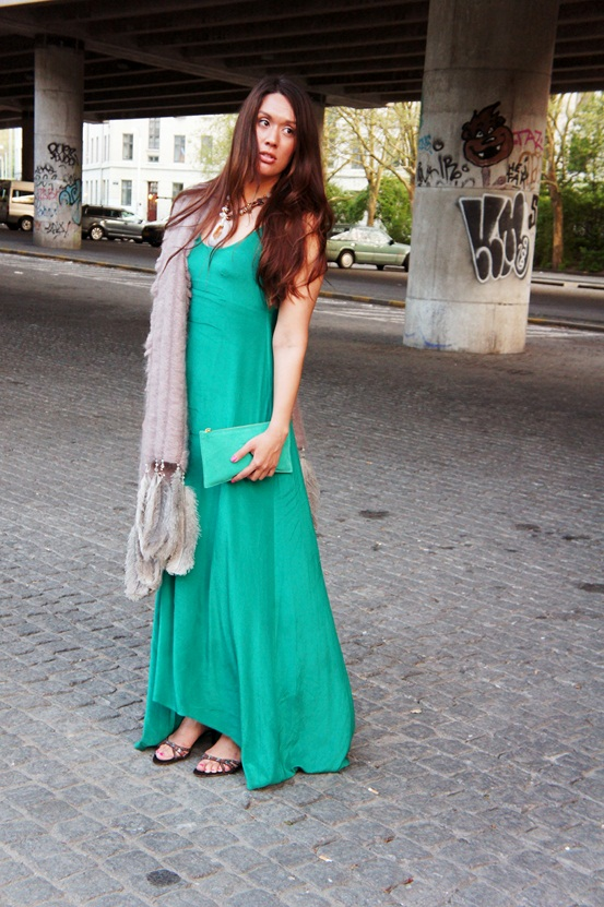 GESTUZ Turn maxi dress, grøn silke kjole, green silk dress
